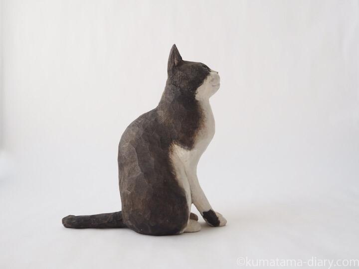 黒白猫さん木彫り猫右