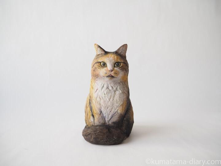 長毛三毛猫さん木彫り猫
