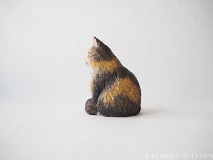 長毛三毛猫さん木彫り猫左