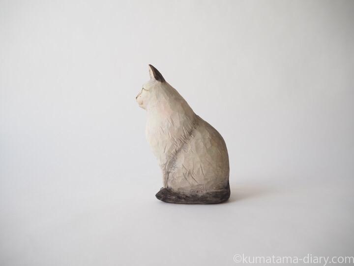 シャムミックス長毛猫木彫り猫