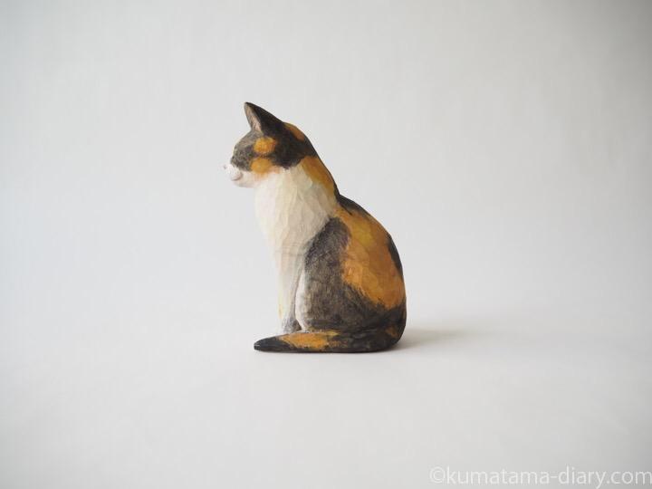 三毛猫さん木彫り左