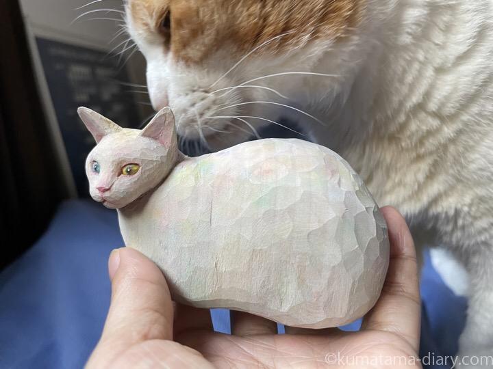 木彫り猫にスリスリするたまき