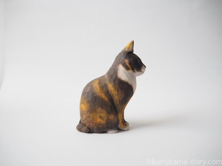 三毛猫さん木彫り猫右