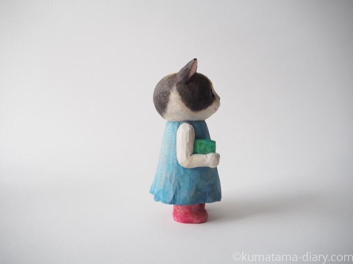 三毛猫木彫り猫右