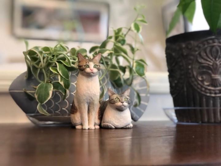 木彫り猫ミードくんとシュクレくん